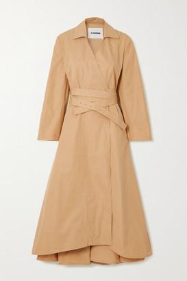 Jil Sander Belted Cotton-poplin Wrap Dress - Beige