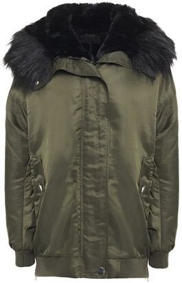 Maje Faux Fur-trimmed Shell Hooded Coat
