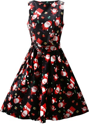 OUGES Women's Christmas Sleeveless Fit and Flare Party Cocktail Dress with Pockets