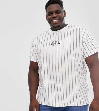 New Look Plus vertical stripe t-shirt in white