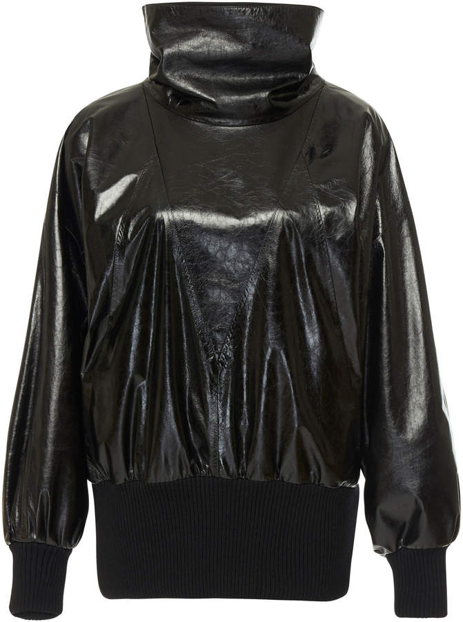 Givenchy Balloon-Sleeve Leather Blouse