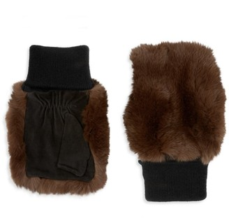 Glamour Puss Rabbit Fur & Suede Knit Fingerless Mittens