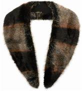 Topman Brown And Black Stripe Faux Fur Scarf