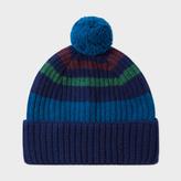 Paul Smith Men's Navy Striped Lambswool Bobble Hat