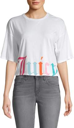 Juicy Couture Logo Graphic Cotton-Blend Cropped Tee