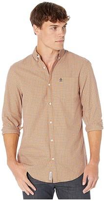 Original Penguin Long Sleeve Woven Shirt (Amber Glow) Men's Clothing