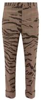 Neil Barrett Zebra-jacquard Plaid Twill Trousers - Mens - Multi