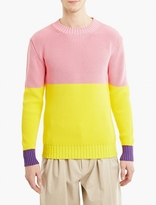 J.w. Anderson Pink Panelled Cotton Sweater
