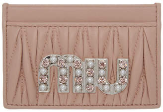 Miu Miu Pink Crystal Logo Card Holder