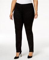 Alfani Plus Size Foil-Check Ponté-Knit Pants, Created for Macy's