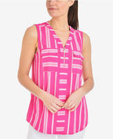 NY Collection Striped Zip-Neck Sleeveless Top