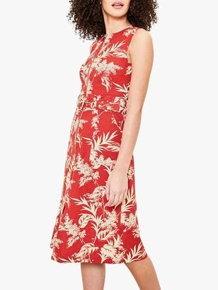 Oasis Leaf Print Midi Dress, Red/Multi