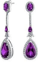 Bling Jewelry Pave CZ Teardrop Dangle Earrings Silver Plated