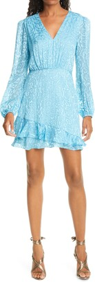 Saloni Alya Heart Jacquard Long Sleeve Silk Blend Minidress