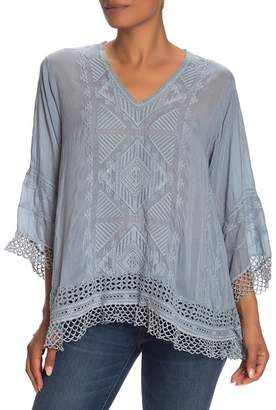 Johnny Was Renee Crochet Lace Trim Embroidered Top