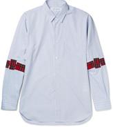 Comme Des Garçons Shirt - Appliquéd Striped Cotton Shirt
