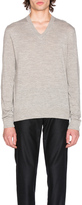 Maison Margiela Jersey V Neck Sweater with Elbow Patches