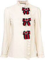 Gucci ruffled shirt with Web - women - Cotton/Spandex/Elastane - 40