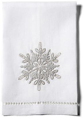 Hamburg House Snowflake Linen Guest Towel - White
