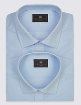 M&s Collection 2 Pack Cotton Blend Easy To Iron Shirts