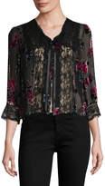 Anna Sui Women's Rose Velvet Burn Out Jacket