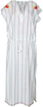 Maraina London Margaux White Striped Drawstring Maxi Kaftan Dress With With Handmade Embroidery