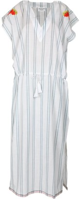 Margaux White Striped Drawstring Maxi Kaftan Dress With With Handmade Embroidery