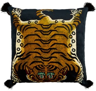 House of Hackney Saber Tiger-print Large Tasselled Velvet Cushion - Navy