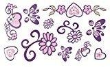 uxcell Flower Butterfly Heart Pattern Women Body Art Paper Sticker Temporary Tattoo Sheet