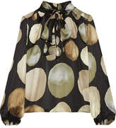 Co Pussy-bow Printed Silk-satin Blouse - Black