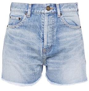 Saint Laurent Frayed Faded Denim Shorts