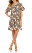 Moa Moa Floral Printed Ruffle Sleeve Knit Babydoll Dress
