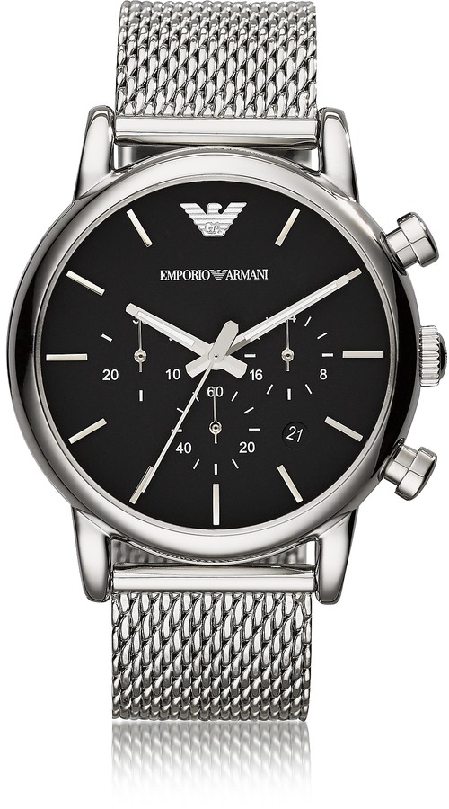 Emporio Armani Stainless Steel Black Dial Men's Watch w/Mesh Band