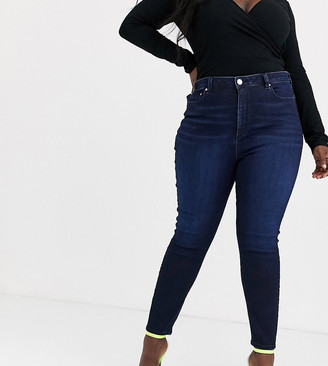 ASOS DESIGN Curve high rise ridley 'skinny' jeans in blackened blue wash