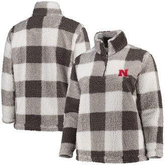 Women's Gray/Cream Nebraska Cornhuskers Plus Size Plaid Sherpa Quarter-Zip Pullover Jacket