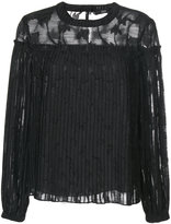 Steffen Schraut sheer pleated blouse with floral embroidery