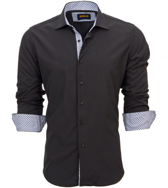 Couture Suslo Men's Button Down Shirts BLACK - Black Contrast Cuff Long-Sleeve Button-Up - Men