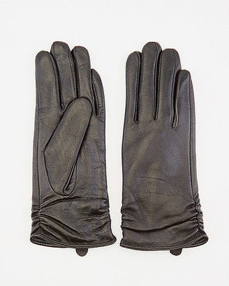 Le Château Ruched Leather Gloves