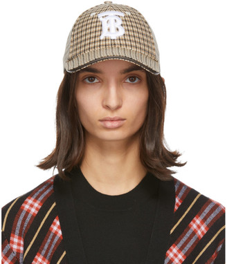 Burberry Beige Houndstooth Monogram Baseball Cap