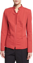 Lafayette 148 New York Mimi Zip-Front Jacket, Red Rock
