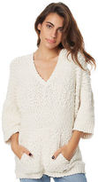 Volcom New Women's Los Gaviotas Womens Hood Knit Poncho Natural