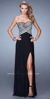 La Femme Striped Bodice Prom Dress