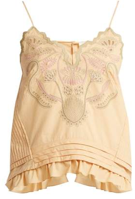 Chloé Embroidered Cotton Voile Camisole Top - Womens - Beige Multi