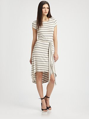 Red Haute Striped Hi-Low Dress