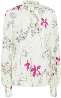Goat Judy Floral-print Satin-crepe Shirt