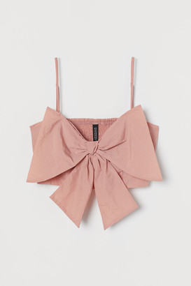 H&M Short Bow-front Top - Pink