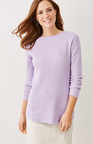 J. Jill Mixed-Rib Boat-Neck Sweater