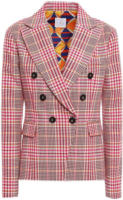 Stella Jean Double-breasted Prince Of Wales Checked Cotton-blend Blazer