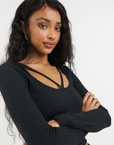 Thumbnail for your product : New Look lattice bust ribbed top in black