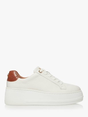 Dune Episode Leather Flatform Sole Trainers, White